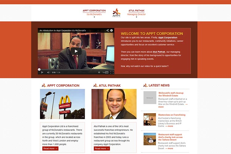 Appt Corporation's new website, designed and built by Degas Guruve