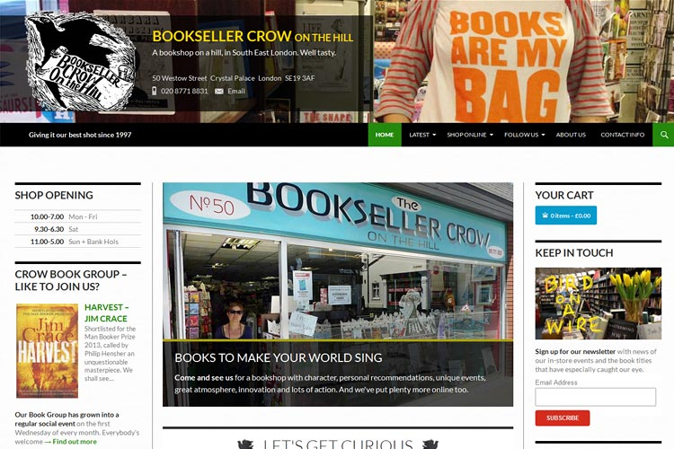 Bookseller Crow's new website, designed and built by Degas Guruve
