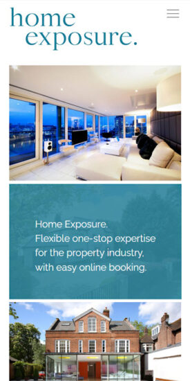 Home Exposure website - mobile version