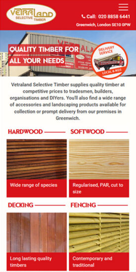 Vetraland Selective Timber website - mobile version