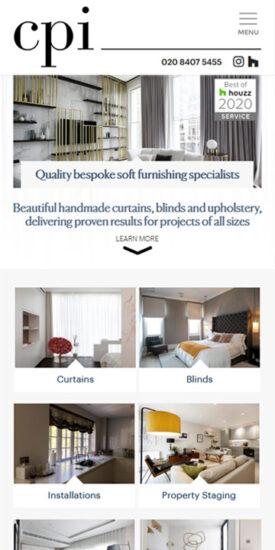 Curtains Plus Interiors website - mobile version