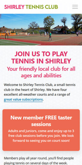 Shirley Tennis Club website - mobile version